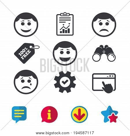 Circle smile face icons. Happy, sad, cry signs. Happy smiley chat symbol. Sadness depression and crying signs. Browser window, Report and Service signs. Binoculars, Information and Download icons