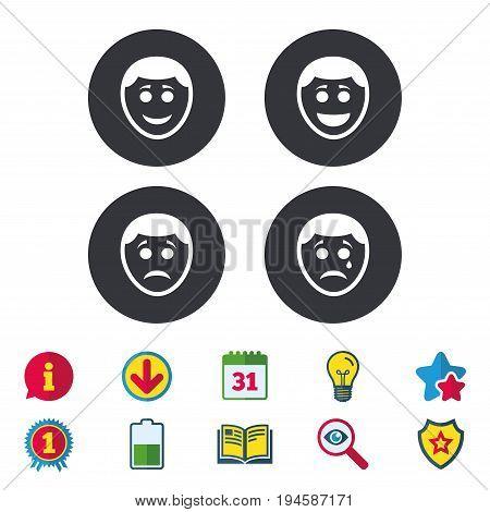 Human smile face icons. Happy, sad, cry signs. Happy smiley chat symbol. Sadness depression and crying signs. Calendar, Information and Download signs. Stars, Award and Book icons. Vector