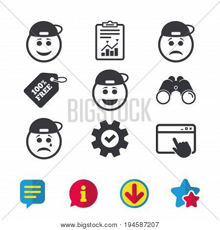 Rapper smile face icons. Happy, sad, cry signs. Happy smiley chat symbol. Sadness depression and crying signs. Browser window, Report and Service signs. Binoculars, Information and Download icons