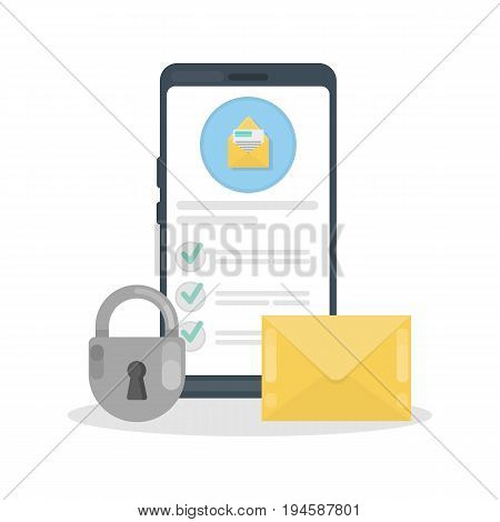 Mail security illustration. Lock with envelope on smartphone. Protection from virus or hacking.