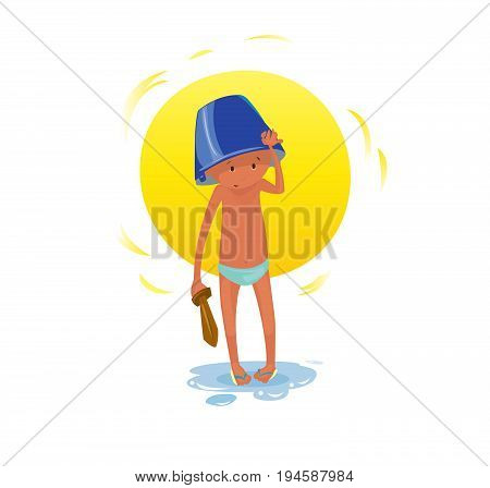 Digital vector funny comic cartoon small kid with a blue buck on head paying with a wooden sword at the beach in water with sun, naked in slips, hand drawn illustration, abstract realistic flat style