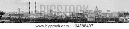 Panoramic view of central Moscow and Luzhniki Stadium from Sparrow Hills. Russia