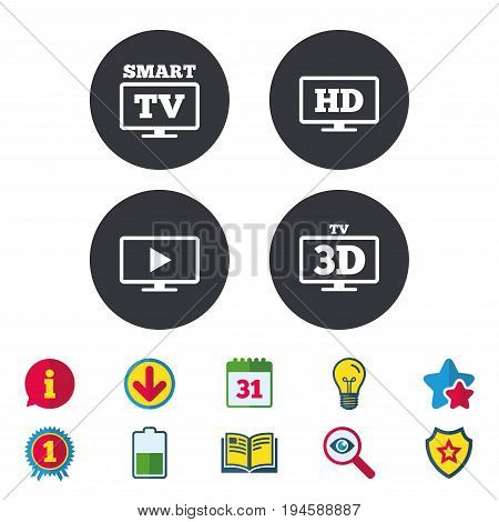 Smart TV mode icon. Widescreen symbol. High-definition resolution. 3D Television sign. Calendar, Information and Download signs. Stars, Award and Book icons. Light bulb, Shield and Search. Vector