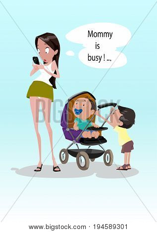 Digital vector funny comic cartoon young surprised woman starring at mobile phone ignoring small children kids, mommy is busy, nipple and baby stroller, hand drawn illustration, realistic flat style