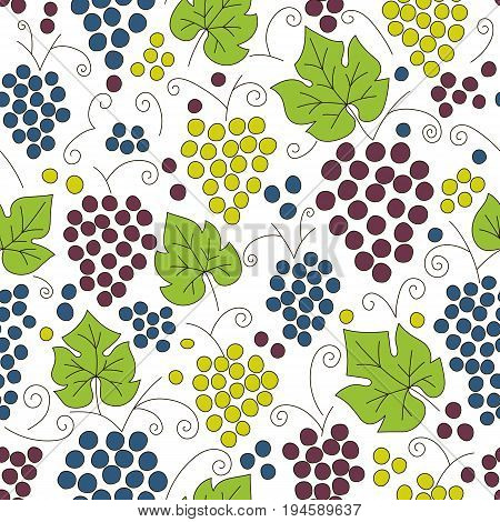 Seamless grapes pattern. Fruit vector background. Coloful background with juicy fruit. Natural and healthy grape food. Fresh juice.