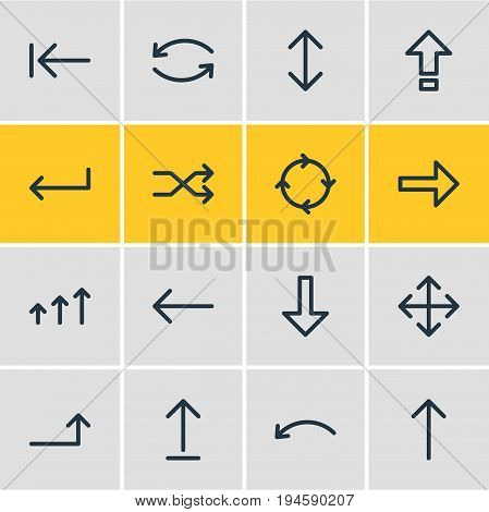Vector Illustration Of 16 Sign Icons. Editable Pack Of Turn, Increase, Shrift And Other Elements.