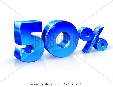 Glossy blue 50 Fifty percent off, sale. Isolated on white background, 3D object. Vector illustration.