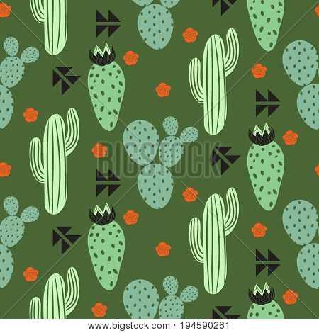Cactus plant vector seamless pattern. Abstract hipster desert nature fabric print. Green mint cacti on dark herbal color for wallpaper and textile apparel.