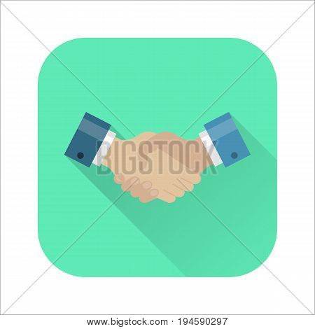Handshake flat icon. Strong businessmen handshake, partnership icon, social or business setting. Vector flat style cartoon illustration with long shadow on pink background. Business success concept