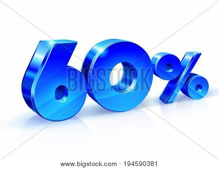 Glossy blue 60 Sixty percent off, sale. Isolated on white background, 3D object. Vector illustration.