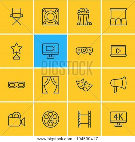 Vector Illustration Of 16 Film Icons. Editable Pack Of Slideshow, Tragedy, Hall And Other Elements.