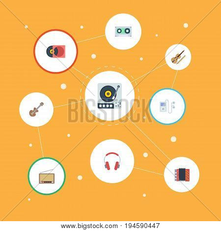 Flat Icons Retro Disc, Earphone, Radio And Other Vector Elements. Set Of Melody Flat Icons Symbols Also Includes Instrument, Radio, Headphones Objects.