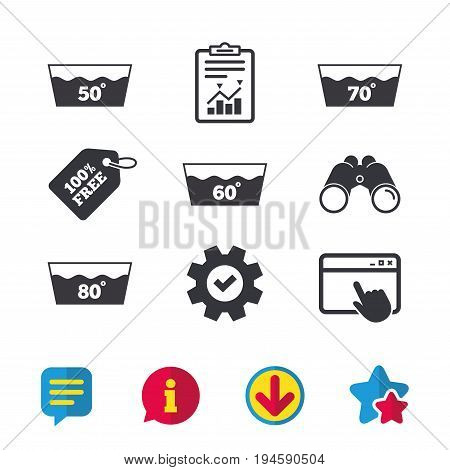 Wash icons. Machine washable at 50, 60, 70 and 80 degrees symbols. Laundry washhouse signs. Browser window, Report and Service signs. Binoculars, Information and Download icons. Stars and Chat. Vector