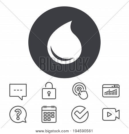 Water drop sign icon. Tear symbol. Calendar, Locker and Speech bubble line signs. Video camera, Statistics and Question icons. Vector