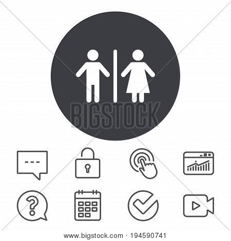 WC sign icon. Toilet symbol. Male and Female toilet. Calendar, Locker and Speech bubble line signs. Video camera, Statistics and Question icons. Vector