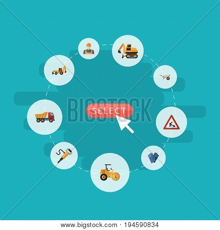 Flat Icons Caution, Pneumatic, Mitten And Other Vector Elements. Set Of Industry Flat Icons Symbols Also Includes Pneumatic, Wheelbarrow, Jackhammer Objects.