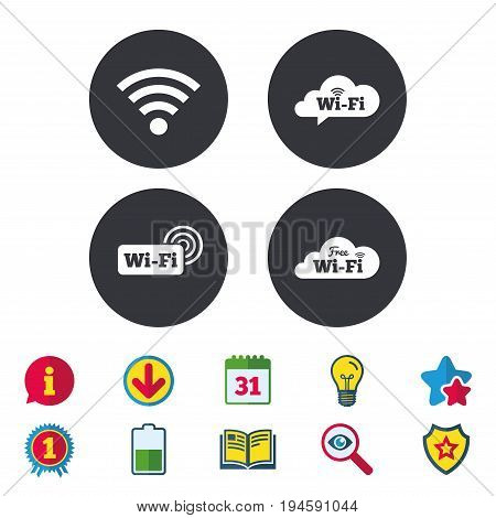 Free Wifi Wireless Network cloud speech bubble icons. Wi-fi zone sign symbols. Calendar, Information and Download signs. Stars, Award and Book icons. Light bulb, Shield and Search. Vector