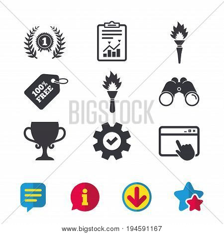 First place award cup icons. Laurel wreath sign. Torch fire flame symbol. Prize for winner. Browser window, Report and Service signs. Binoculars, Information and Download icons. Stars and Chat. Vector