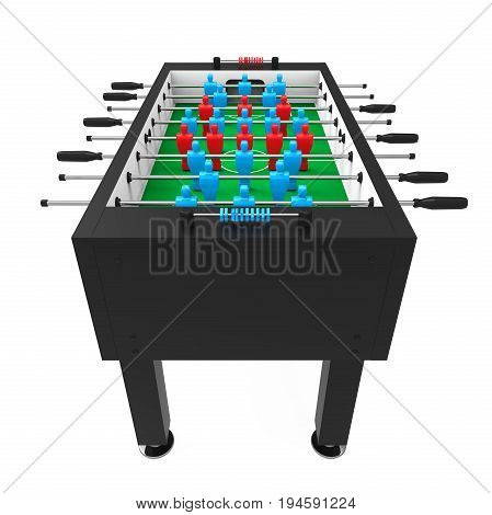 Foosball Soccer Table Game isolated on white background. 3D render