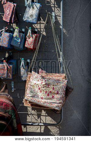 Traditional Turkish handmade bags hanging on a wall