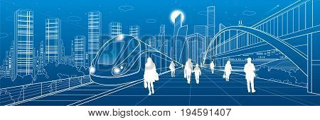 Transport infrastructure panorama, people waiting for train on railway station, locomotive move, pedestrian bridge, modern city on background, business buildings, urban skyline, vector design art
