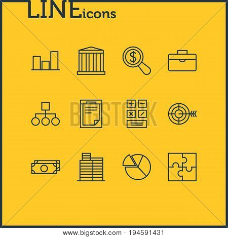 Vector Illustration Of 12 Business Icons. Editable Pack Of Chart, Portfolio, Scheme And Other Elements.
