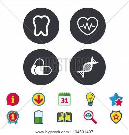 Maternity icons. Pills, tooth, DNA and heart cardiogram signs. Heartbeat symbol. Deoxyribonucleic acid. Dental care. Calendar, Information and Download signs. Stars, Award and Book icons. Vector