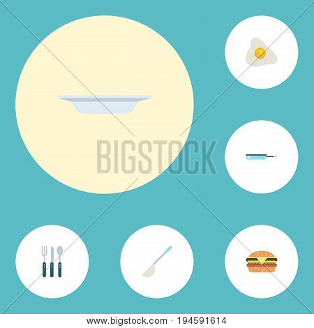 Flat Icons Soup Spoon, Skillet, Dish And Other Vector Elements. Set Of Cooking Flat Icons Symbols Also Includes Soup, Dish, Fried Objects.
