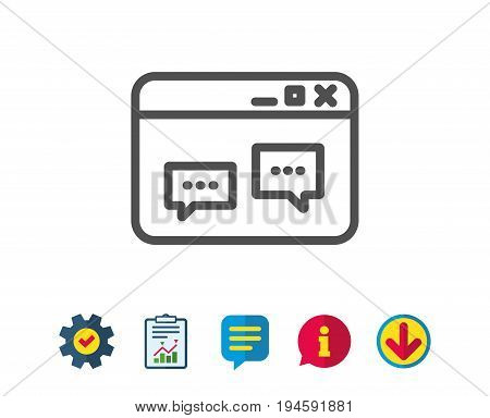 Browser Window line icon. Chat speech bubbles sign. Internet page symbol. Report, Service and Information line signs. Download, Speech bubble icons. Editable stroke. Vector
