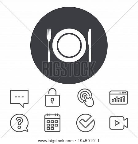 Plate dish with fork and knife. Eat sign icon. Cutlery etiquette rules symbol. Calendar, Locker and Speech bubble line signs. Video camera, Statistics and Question icons. Vector
