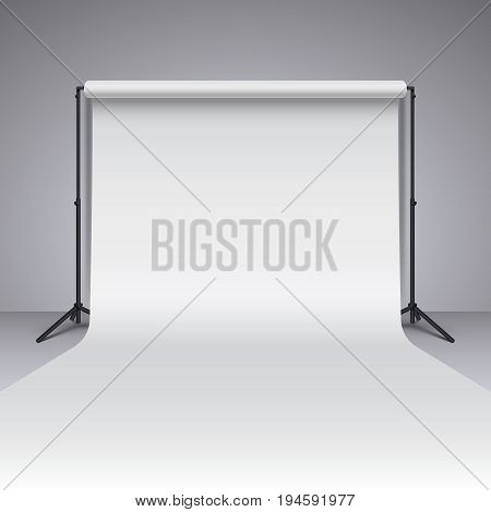 Empty white photo studio backdrop. Realistic vector photographer studio backdrop