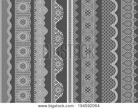 Vector seamless lace ribbon borders. Illustration of lace pattern floral fabric