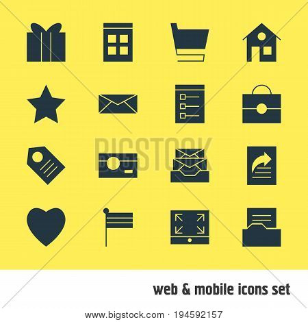 Vector Illustration Of 16 Online Icons. Editable Pack Of Gift, Trolley, Document Directory And Other Elements.