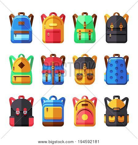 School backpacks vector set. Kids schoolbag flat collection. Backpack and schoolbag illustration
