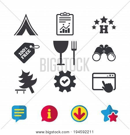 Food, hotel, camping tent and tree icons. Wineglass and fork. Break down tree. Road signs. Browser window, Report and Service signs. Binoculars, Information and Download icons. Stars and Chat. Vector