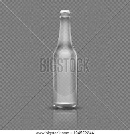 Empty transparent beer or water bottle. Realistic 3d vector illustration. Empty bottle transparent glass isolated