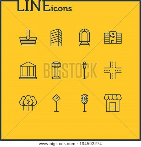 Vector Illustration Of 12 Urban Icons. Editable Pack Of Semaphore, Skyscraper, Intersection And Other Elements.