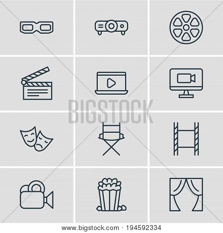 Vector Illustration Of 12 Cinema Icons. Editable Pack Of Television, Clapper, Snack And Other Elements.