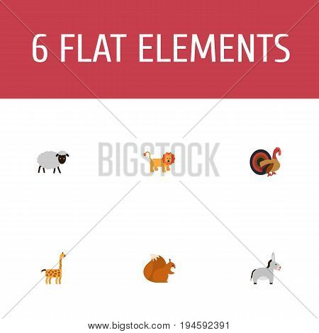 Flat Icons Wildcat, Jackass, Gobbler And Other Vector Elements. Set Of Zoology Flat Icons Symbols Also Includes Gobbler, Donkey, Forest Objects.