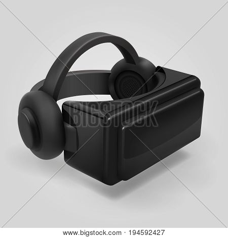 Virtual reality 3d futuristic glasses display. Vr helmet visor isolated vector illustration. Helmet to video game