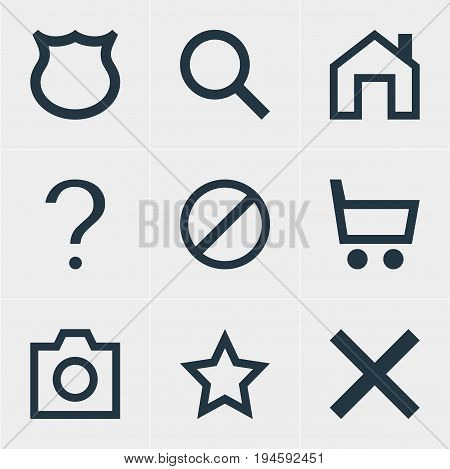 Vector Illustration Of 9 Interface Icons. Editable Pack Of Access Denied, Snapshot, Mainpage And Other Elements.