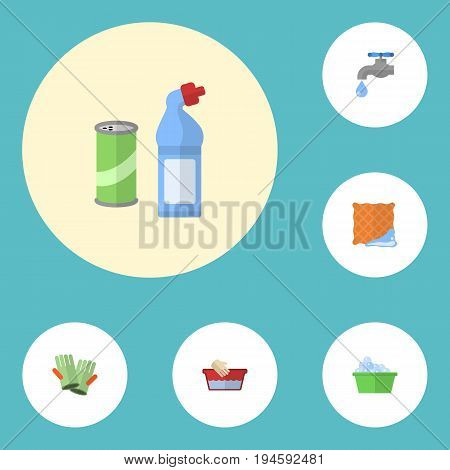 Flat Icons Means For Cleaning, Laundry, Gauntlet And Other Vector Elements. Set Of Cleaning Flat Icons Symbols Also Includes Hand, Basin, Bowl Objects.