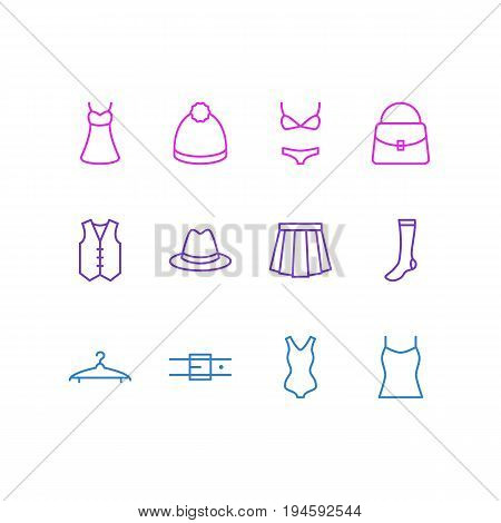 Vector Illustration Of 12 Garment Icons. Editable Pack Of Cloakroom, Singlet, Swimsuit And Other Elements.