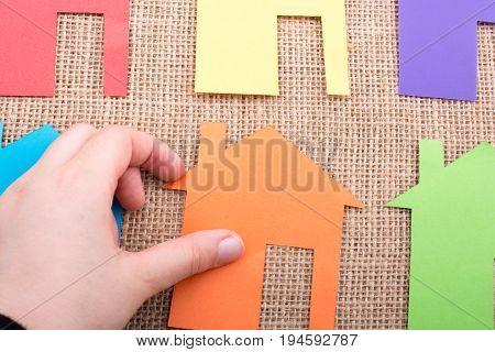 House Shape Cut Out Of Color Paper