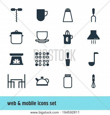 Vector Illustration Of 16 Kitchenware Icons. Editable Pack Of Pepper Container, Dinner Table, Coffee Cup And Other Elements.