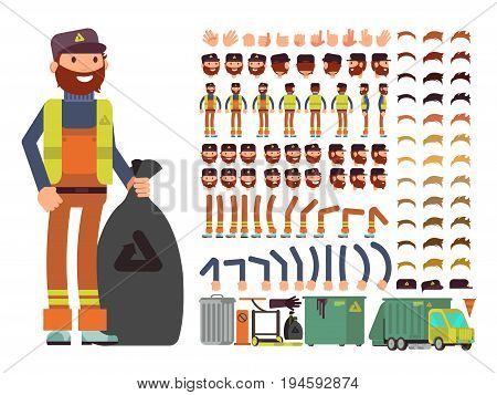 Sanitation worker vector man character. Creation constructor with set of body parts and garbage collection equipment. Profession sanitation man in workwear uniform illustration