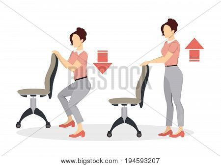Sport exercises for office. Office yoga for tired employees with chair. Squats.
