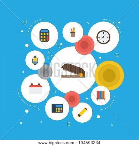 Flat Icons Puncher, Date, Phone And Other Vector Elements. Set Of Workspace Flat Icons Symbols Also Includes Bookcase, Highlighter, Bookshop Objects.