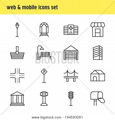 Vector Illustration Of 16 Urban Icons. Editable Pack Of Lamppost, Courthouse, Subway And Other Elements.