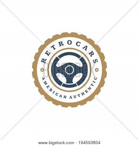 Car steering wheel logo template vector design element vintage style for label or badge retro illustration. Steering wheel silhouette.